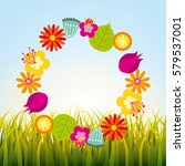 wreath of flowers | Shutterstock .eps vector #579537001