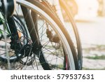 close up bicycle wheels with... | Shutterstock . vector #579537631