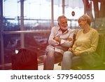senior couple waiting for... | Shutterstock . vector #579540055
