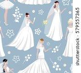 wedding bride girl character... | Shutterstock .eps vector #579557365