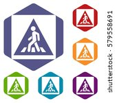 pedestrian road sign icons set... | Shutterstock . vector #579558691