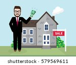 hipster businessman buying a... | Shutterstock .eps vector #579569611