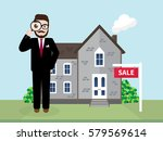 hipster real estate agent using ... | Shutterstock .eps vector #579569614