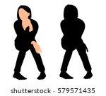 vector silhouette of teenager... | Shutterstock .eps vector #579571435