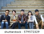 group of happy asian college... | Shutterstock . vector #579572329