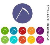 scythe set icons in different... | Shutterstock . vector #579574171
