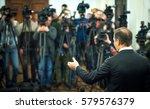 press conference. public... | Shutterstock . vector #579576379