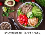 healthy salad plate with quinoa ... | Shutterstock . vector #579577657