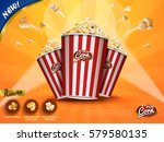 classic popcorn flying out of... | Shutterstock . vector #579580135