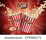 delicious popcorn flying out of ... | Shutterstock . vector #579580171