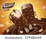 chocolate ice bar ad  with... | Shutterstock . vector #579580249