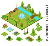 urban park and part set... | Shutterstock .eps vector #579580615