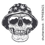 rastaman skull in hat with... | Shutterstock .eps vector #579583621