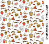 seamless pattern hand drawn... | Shutterstock .eps vector #579588085