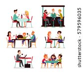 eating people set of couple... | Shutterstock .eps vector #579596035