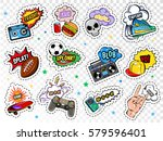 comic boys stickers set with... | Shutterstock .eps vector #579596401