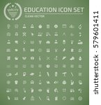 education icon set clean vector | Shutterstock .eps vector #579601411