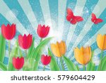 8 march. red yellow tulips with ... | Shutterstock .eps vector #579604429