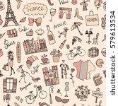 france sketch  seamless pattern ... | Shutterstock .eps vector #579613534