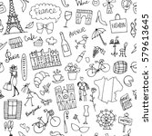 france sketch  seamless pattern ... | Shutterstock .eps vector #579613645