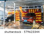 automatic car wash in action, car wash clean , brushes - stock photo