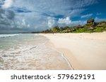 caribbean beach panorama  tulum ... | Shutterstock . vector #579629191