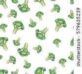 broccoli seamless pattern on... | Shutterstock .eps vector #579635239