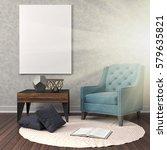 mock up poster frame in... | Shutterstock . vector #579635821
