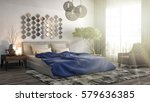 bedroom interior. 3d... | Shutterstock . vector #579636385