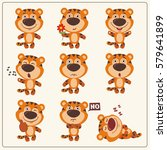 funny little tiger set in... | Shutterstock .eps vector #579641899