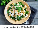 chickpea salad with fresh feta... | Shutterstock . vector #579644431