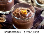 chocolate mousse topped with... | Shutterstock . vector #579644545