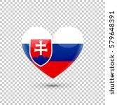 slovak flag heart icon on...   Shutterstock .eps vector #579648391