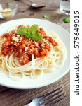 spaghetti bolognese pasta with... | Shutterstock . vector #579649015