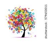 tree  letter  concept  english  ... | Shutterstock .eps vector #579653011