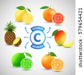 vitamin c sources. fruits with...   Shutterstock .eps vector #579654421