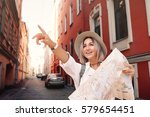 travel guide. young female... | Shutterstock . vector #579654451