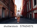 travel guide. young female... | Shutterstock . vector #579654571