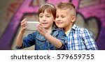 portrait of happy fashion... | Shutterstock . vector #579659755