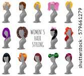 woman hair style on fashion... | Shutterstock .eps vector #579661279