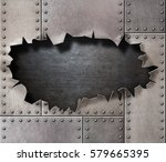 damaged metal armor with... | Shutterstock . vector #579665395