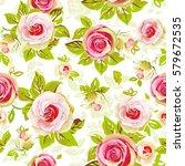 roses seamless pattern vector... | Shutterstock .eps vector #579672535