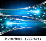 future technology  blue cyber... | Shutterstock .eps vector #579676951
