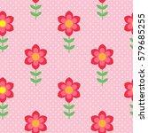 simple red flowers. vector... | Shutterstock .eps vector #579685255