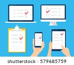 online survey  checklist set.... | Shutterstock .eps vector #579685759
