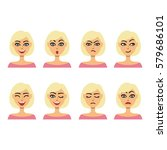 set of different girl facial... | Shutterstock .eps vector #579686101