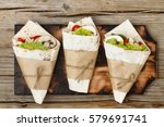 tortilla wraps with grilled... | Shutterstock . vector #579691741