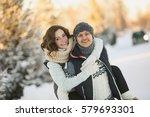 happy loving couple walking in... | Shutterstock . vector #579693301