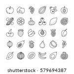 vector line icon set. fruits ... | Shutterstock .eps vector #579694387