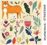 vector illustration with tiger... | Shutterstock .eps vector #579695449